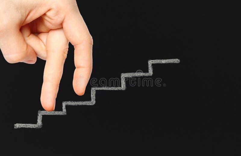 Fingeres en las escaleras de la tiza imagen de archivo libre de regalías