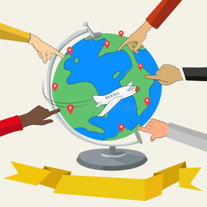 Fingeres que muestran lugares en el globo ilustración del vector