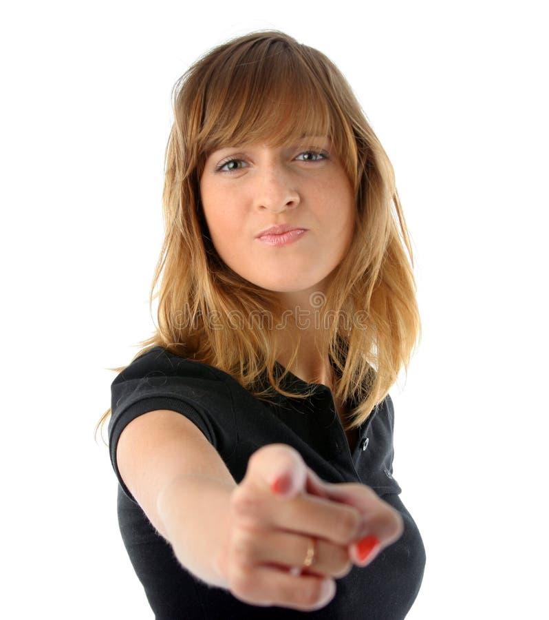 fingerflicka henne som pekar royaltyfri foto