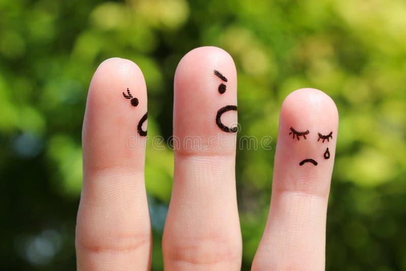 Fingerkunst der Familie während des Streites stockfoto