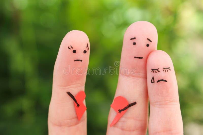 Fingerkunst der Familie während des Streites Konzept von Eltern hatte Kampf stockfotografie