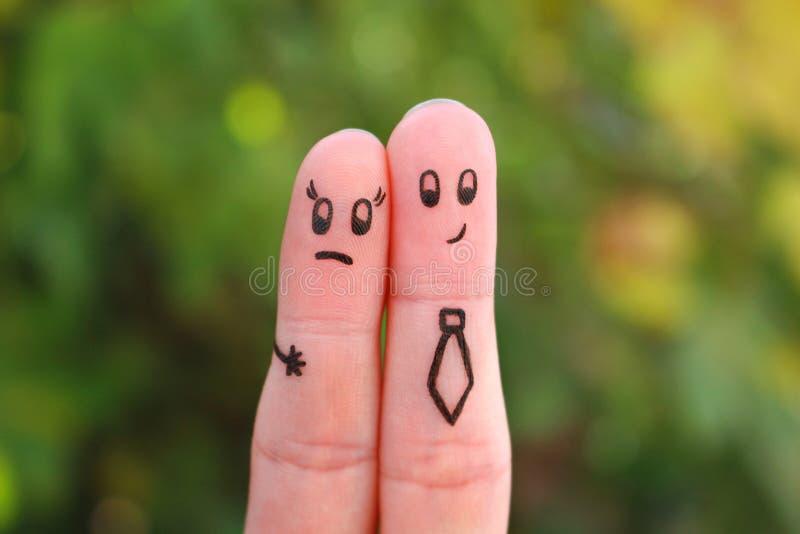 Fingerkunst von Paaren Konzept der bedrängenden Frau des Mannes lizenzfreies stockbild