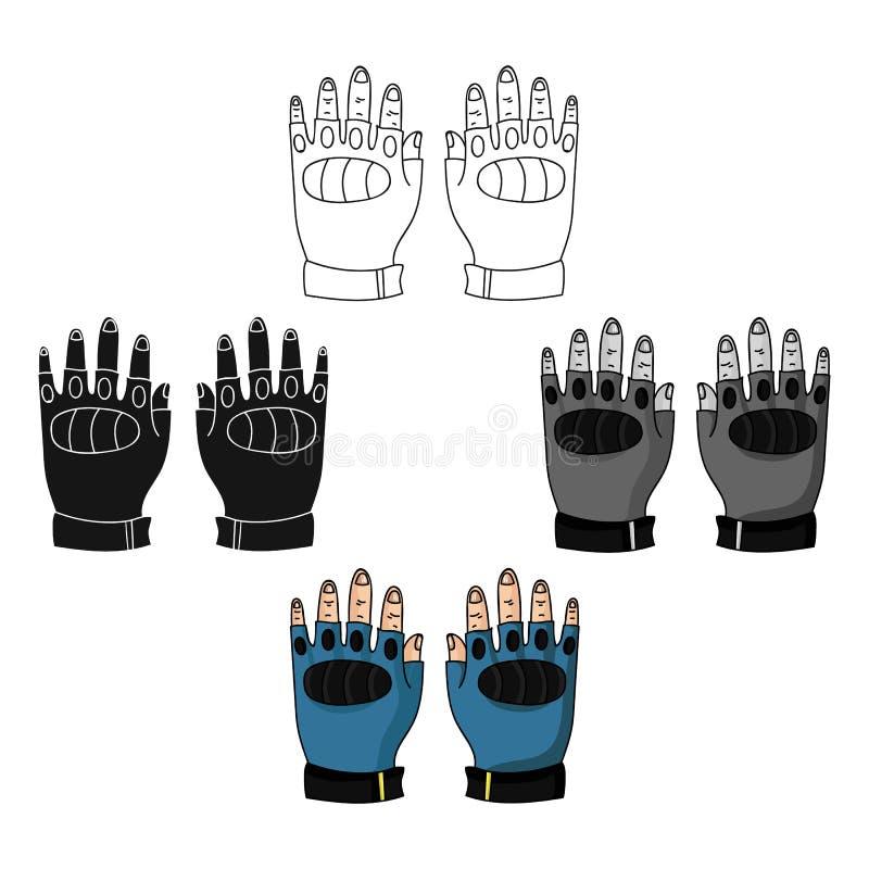 Fingerless rękawiczki ikona w kreskówce, czerń styl odizolowywający na białym tle Paintball symbolu zapasu wektoru ilustracja ilustracja wektor