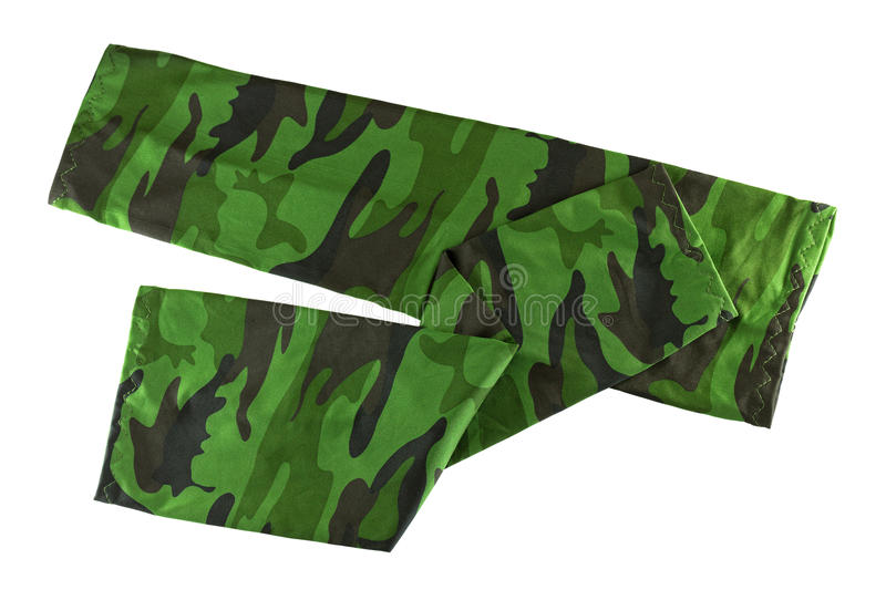 Fingerless sleeve in green camouflage patterns to cover and protect arm from harmful sun, UV ray. Stretch and folded fingerless sleeve in green camouflage royalty free stock photo