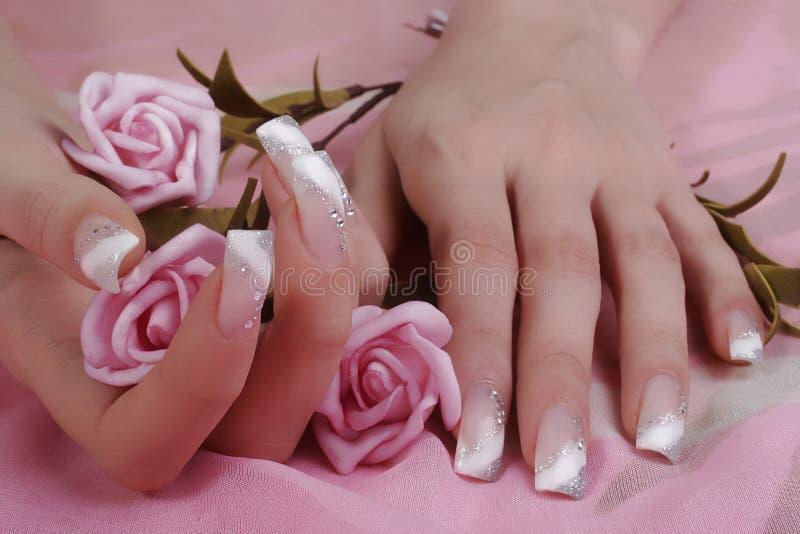 Fingernails. Woman hands holding a pink roses, fingernails stock photo