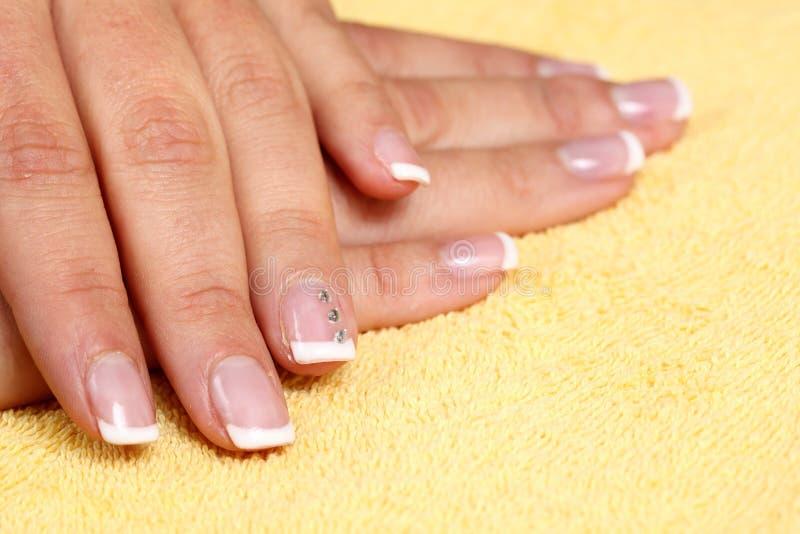 Fingernails manicure. Nails after the manicure stock image