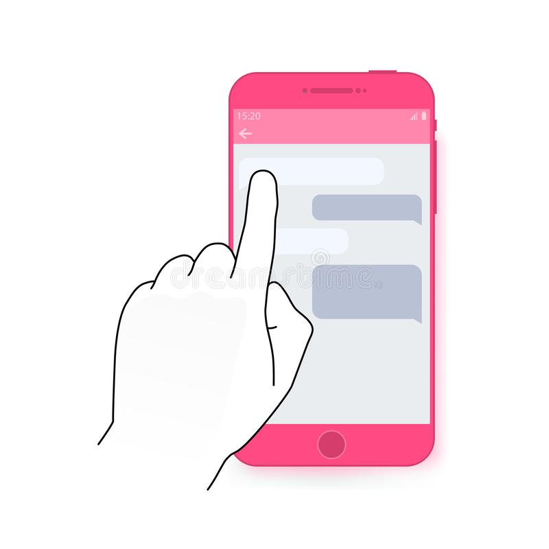 Fingernote Smartphoneschirm mit Chatdialog Modernes Konzept für Netzfahnen, Website, infographics Kreatives flaches Design vektor abbildung