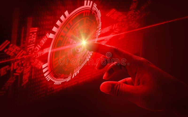 Fingernoten-Schnittstellenabstrakte begriffe, sehr moderne futuristische Technologie und Entwurf mit einbeziehend, wenn die innov lizenzfreie stockbilder