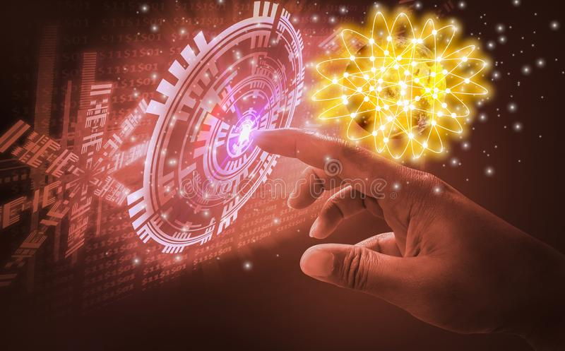 Fingernotenschnittstelle, sehr moderne futuristische Technologie und Entwurf mit einbeziehend, wenn die innovative Menschlichkeit lizenzfreie stockfotos