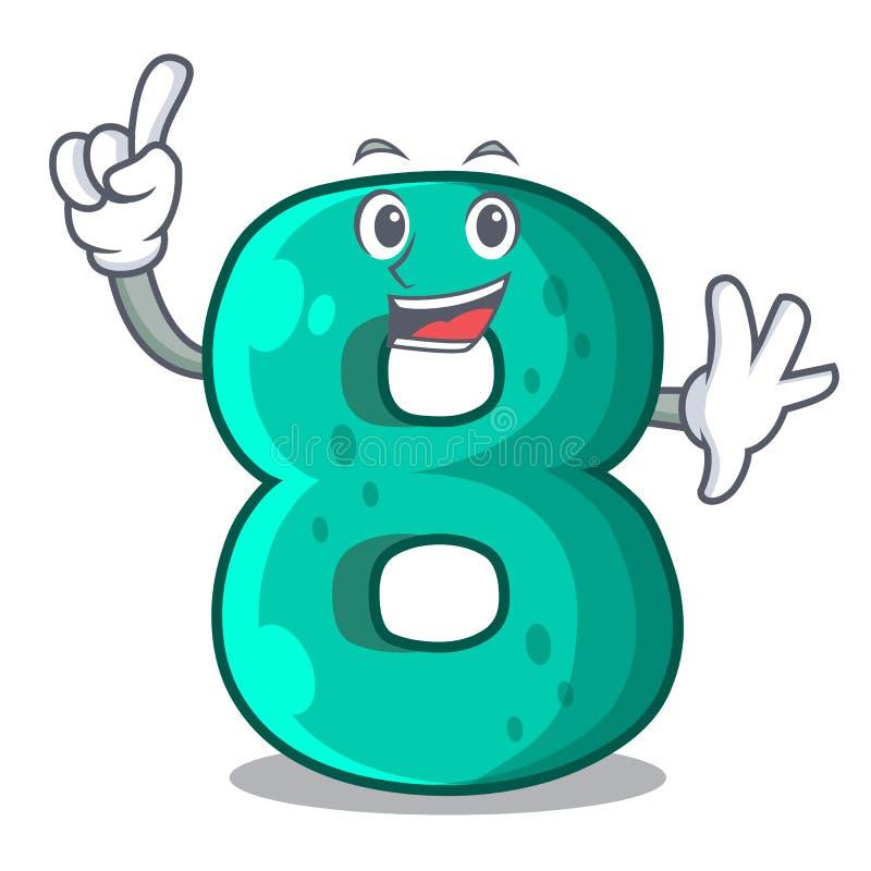 Fingernummer logo för åtta volym maskot vektor illustrationer