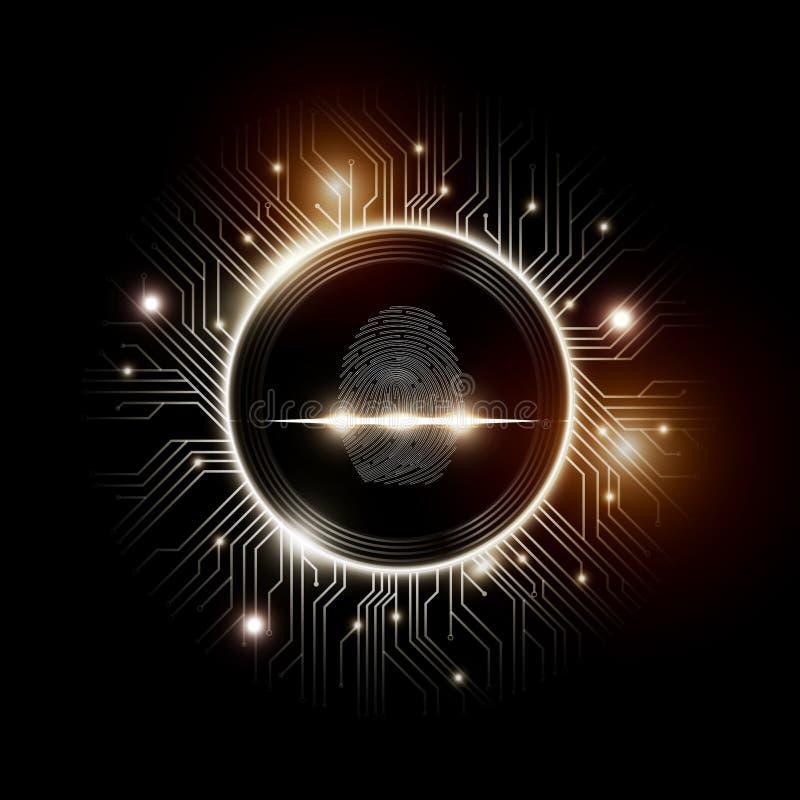 Fingerprint развертка с абстрактной футуристической предпосылкой технологии, концепцией системы безопасности, иллюстрацией вектор иллюстрация вектора