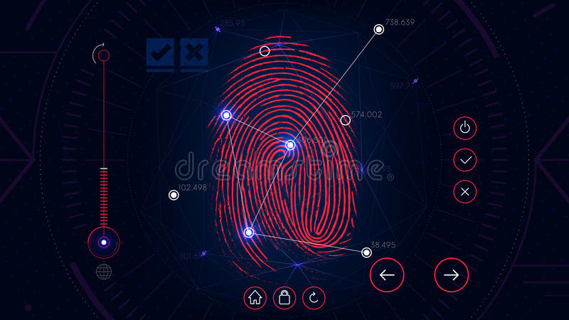 Fingerprint система опознавания скеннирования, интерфейс футуристической научной фантастики красный, биометрическая технология ут иллюстрация штока
