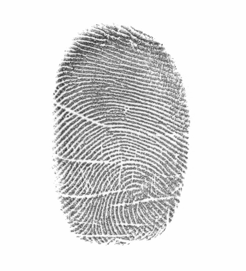 Fingerprint. On a surface of a white paper royalty free stock photo