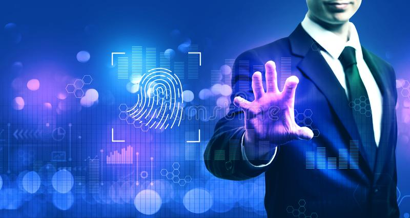 Fingerprint biometric identity with businessman stock images