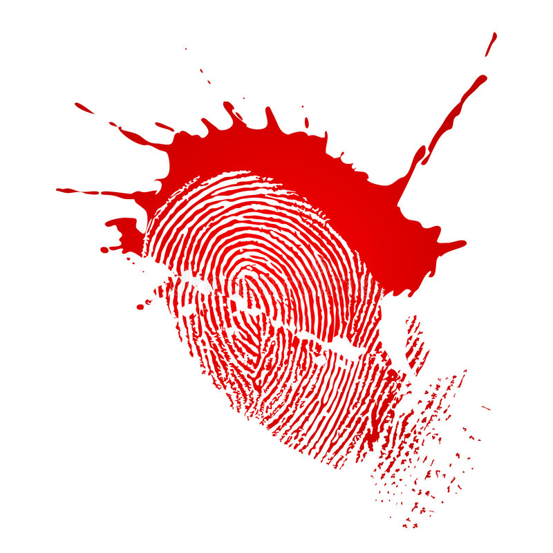 Fingerprint and blood drops vector illustration