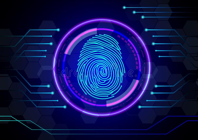 Fingerprint with concept abstract technology background stock illustration