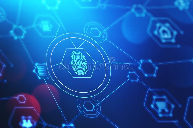 Fingerprint and cyber security interface. Glowing immersive online security interface with HUD fingerprint over dark blue background. Concept of data protection stock illustration
