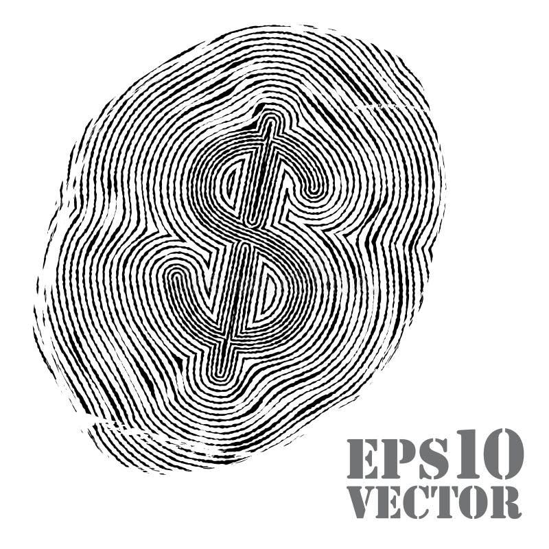 Fingerprint with dollar sign.