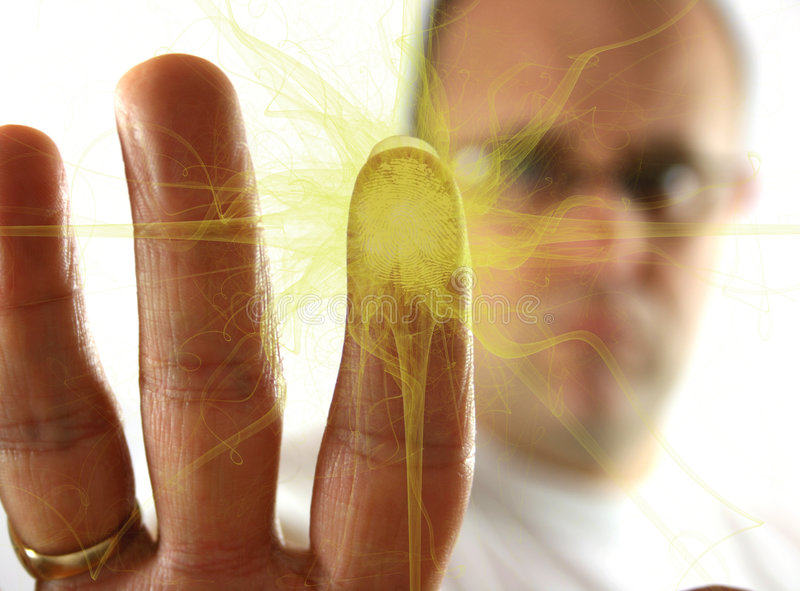 Fingerprint Explosion. Of Yellow gas royalty free stock image