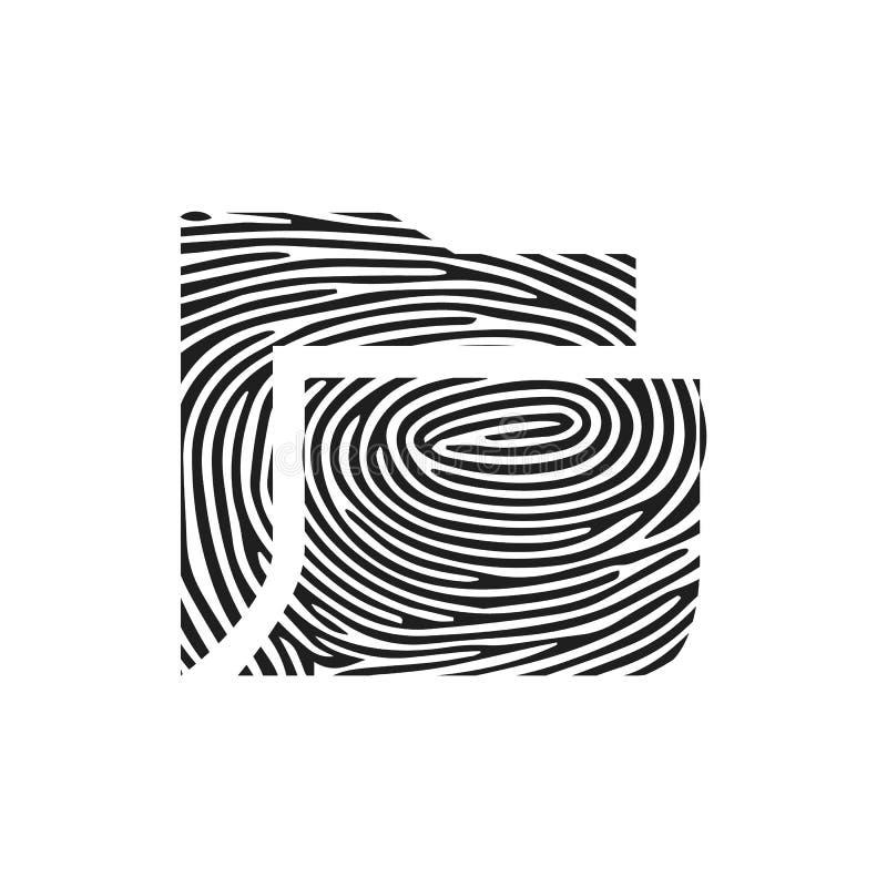 Fingerprint folder icon. Isolated thumbprint and fingerprint folder icon line style. Premium quality vector symbol drawing concept royalty free illustration