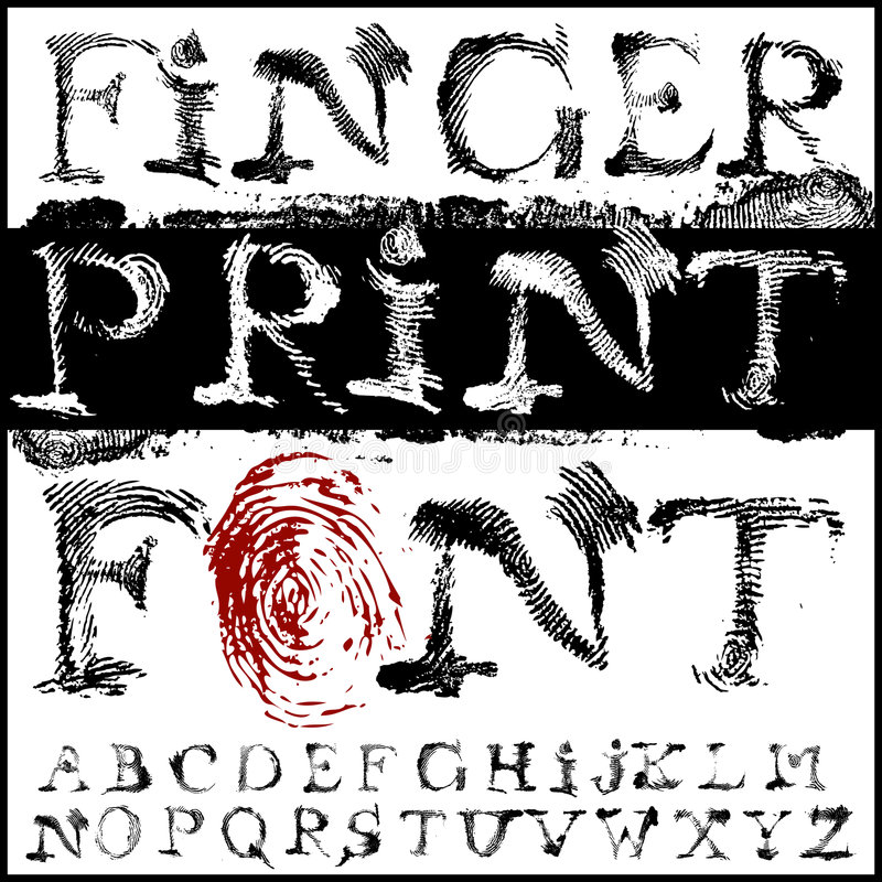 Fingerprint font stock illustration