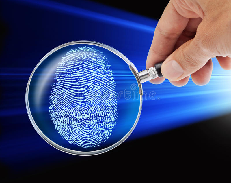 Fingerprint Hand Magnifying Glass Security Hacker. A conceptual security image with a hand holding a magnifying glass and a fingerprint
