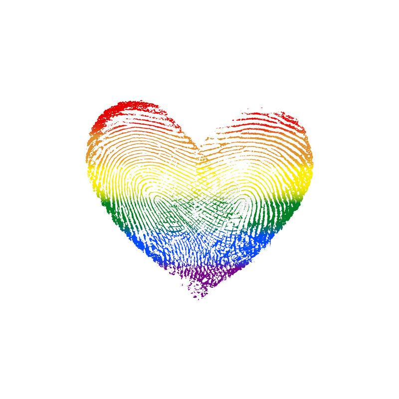 Fingerprint Heart Rainbow V. Fingerprint heart of two in love. [rainbow heart, in colors of LGBT flag, isolated on white background] Good for romantic posters royalty free illustration