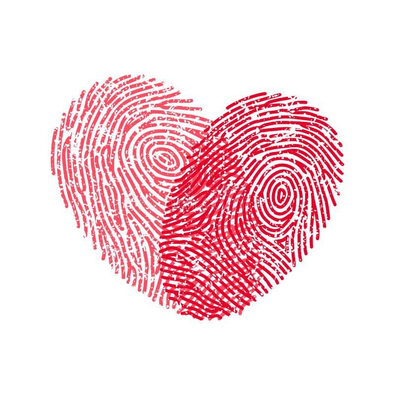 Fingerprint heart. Vector red heart from two fingerprints vector illustration