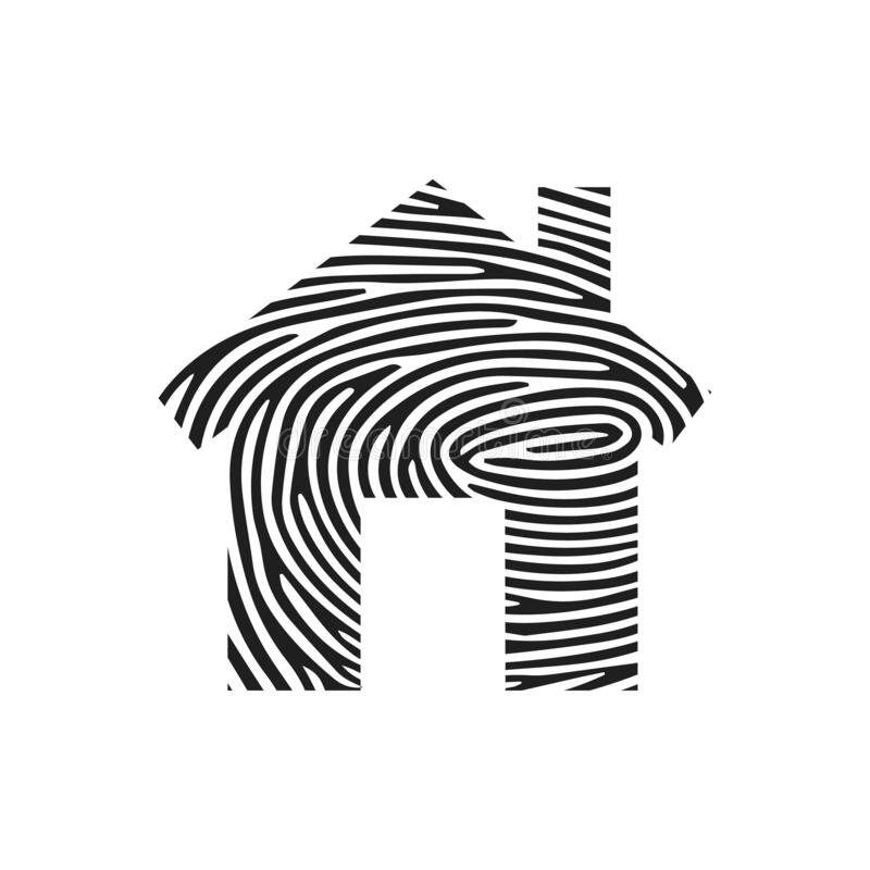 Fingerprint home icon. Isolated thumbprint and fingerprint home icon line style. Premium quality vector symbol drawing concept for royalty free illustration
