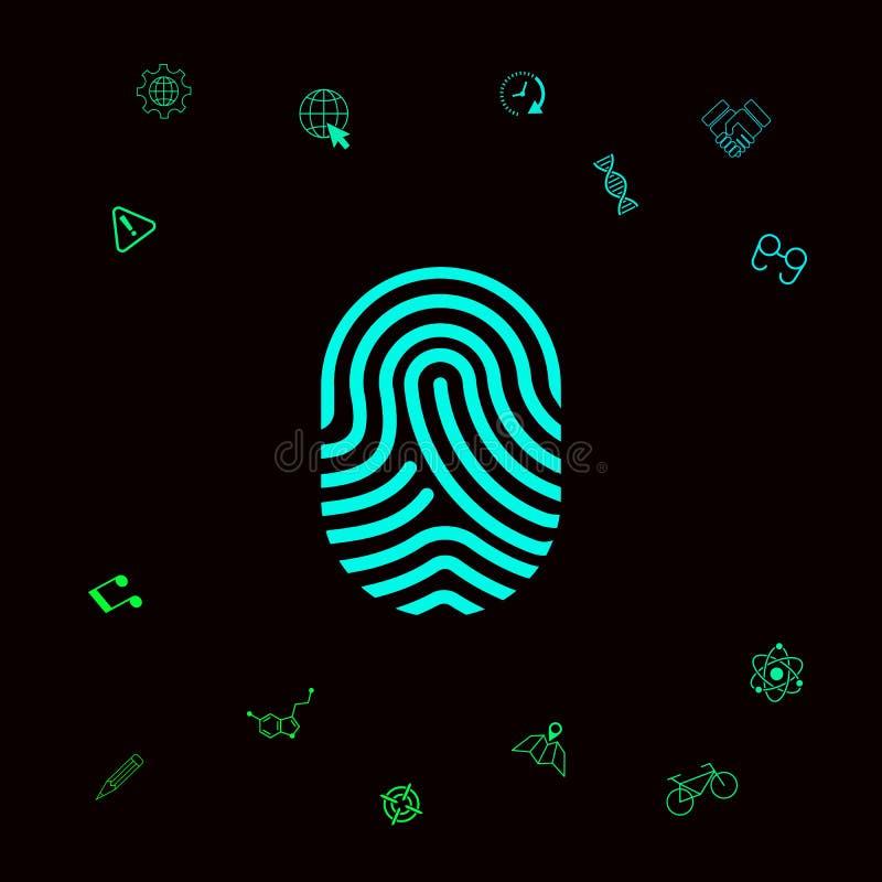 fingerprint Icône balayée de doigt Éléments graphiques pour votre designt illustration de vecteur