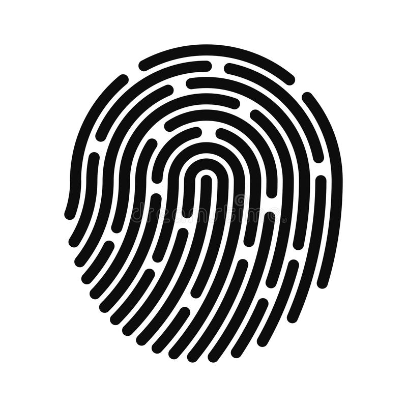 Fingerprint icon. Fingerprint identification system. Digital and cyber security, biometric authorization stock illustration