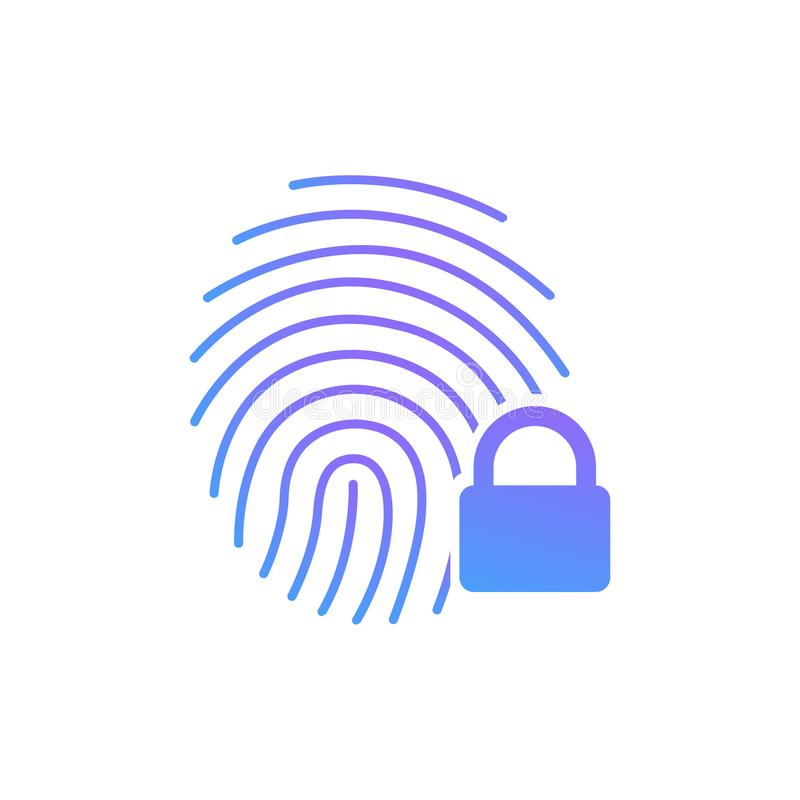 Fingerprint icon with lock sign. Concept of personal data protection. App security. Flat vector icon. Vector illustration isolated stock illustration