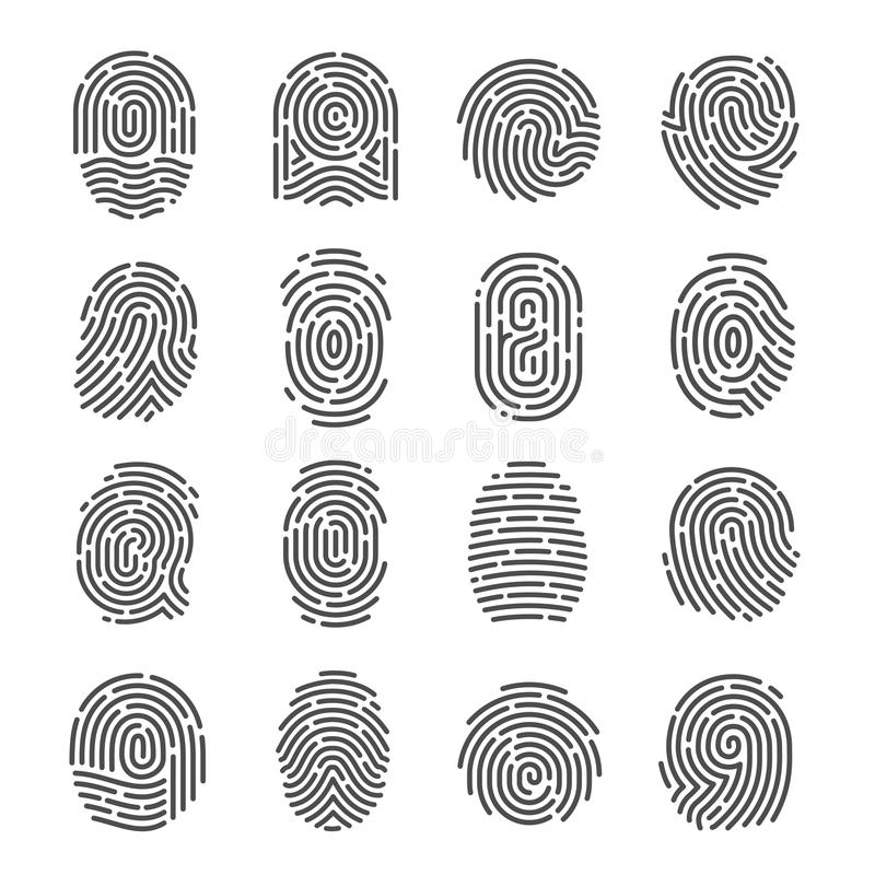 Free Fingerprint Icon Set Stock Photo - 121053660