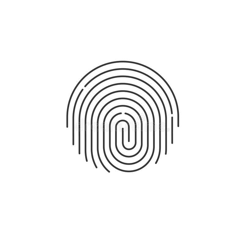 fingerprint icon vector, round shaped finger print isolated stock