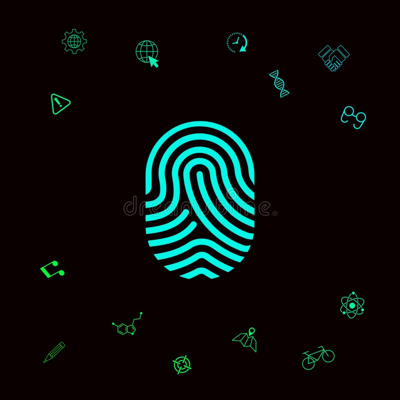 fingerprint Icono explorado del finger Elementos gráficos para su designt ilustración del vector
