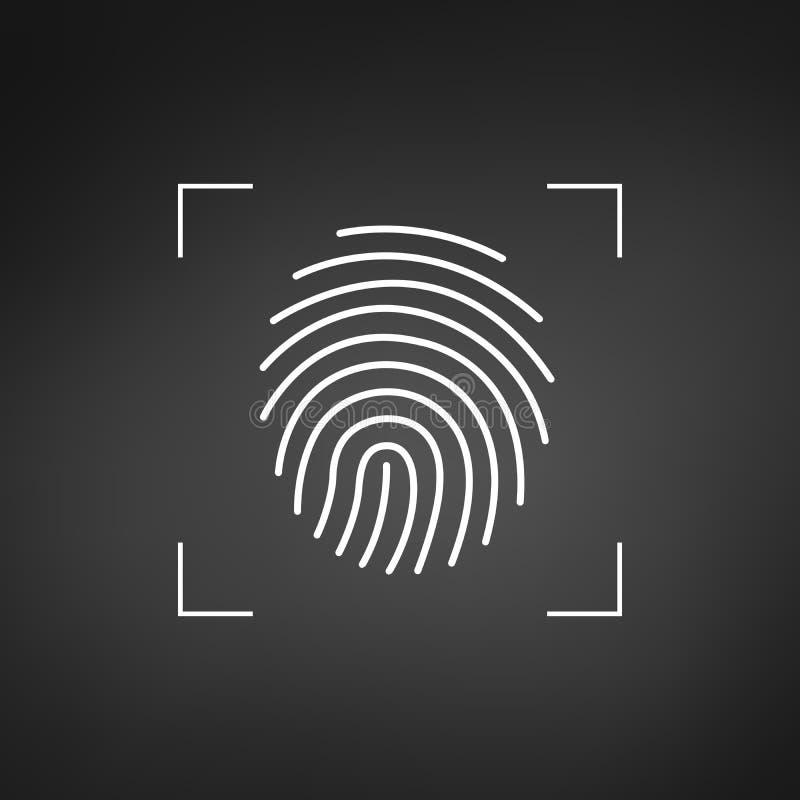fingerprint Icono simple para el logotipo o el app Marco de la exploración Ilustración del vector aislada en el fondo blanco ilustración del vector