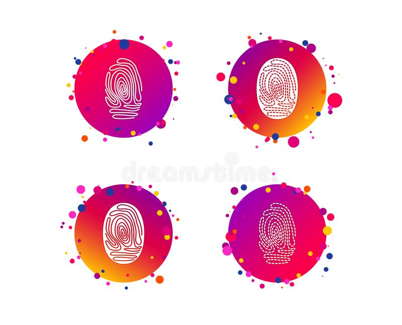 Fingerprint icons. Identification signs. Vector. Fingerprint icons. Identification or authentication symbols. Biometric human dabs signs. Gradient circle buttons vector illustration