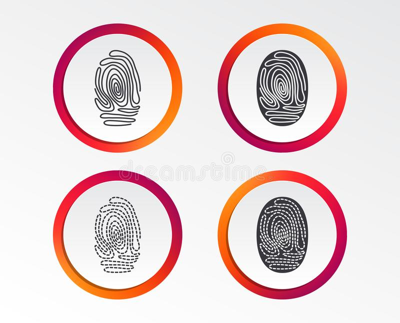 Fingerprint icons. Identification signs. Fingerprint icons. Identification or authentication symbols. Biometric human dabs signs. Infographic design buttons royalty free illustration