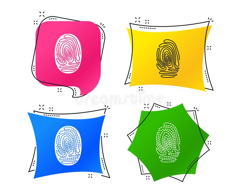 Fingerprint icons. Identification signs. Vector. Fingerprint icons. Identification or authentication symbols. Biometric human dabs signs. Geometric colorful tags stock illustration