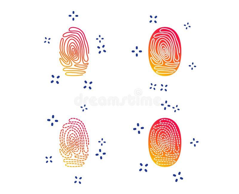 Fingerprint icons. Identification signs. Vector. Fingerprint icons. Identification or authentication symbols. Biometric human dabs signs. Random dynamic shapes vector illustration