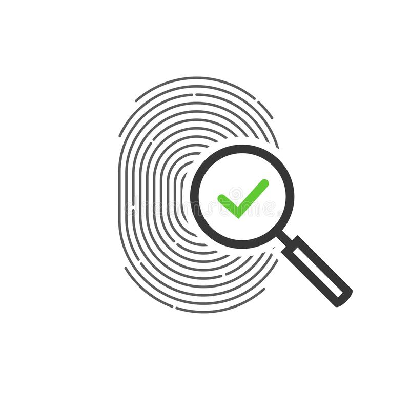 Fingerprint identification check or access approved vector icon, line outline art design of thumb print and magnifying vector illustration