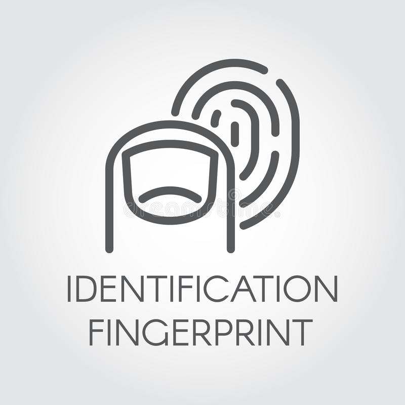 Fingerprint identification line icon. Identity biometric scanning. Verification system. Authentication technology. In mobile phones, smartphones and other vector illustration