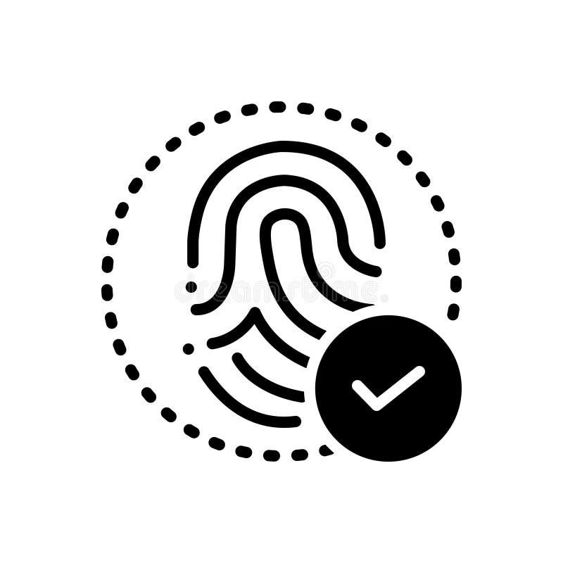 Black solid icon for Fingerprint identity, technology and biometrics. Black solid icon for Fingerprint identity, thumbprint,  technology and biometrics vector illustration