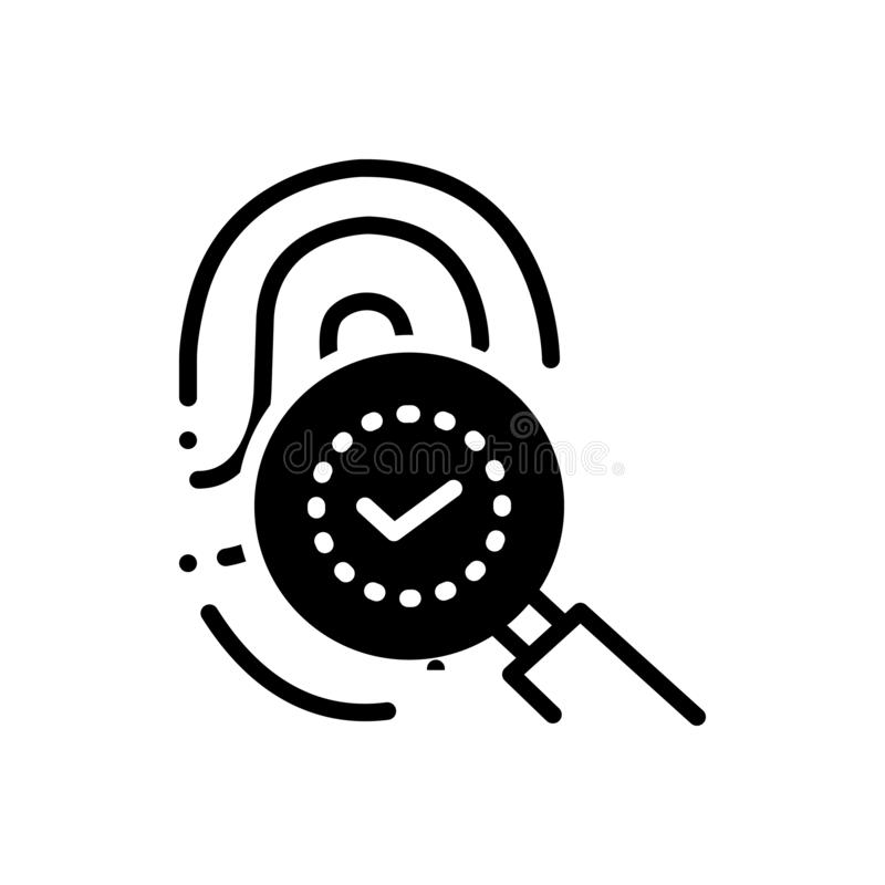 Black solid icon for Fingerprint identity, thumbprint and biometrics. Black solid icon for Fingerprint identity, identification, technology,   thumbprint and vector illustration