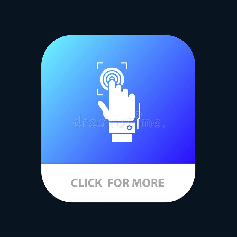 Fingerprint, Identity, Recognition, Scan, Scanner, Scanning Mobile App Button. Android and IOS Glyph Version vector illustration