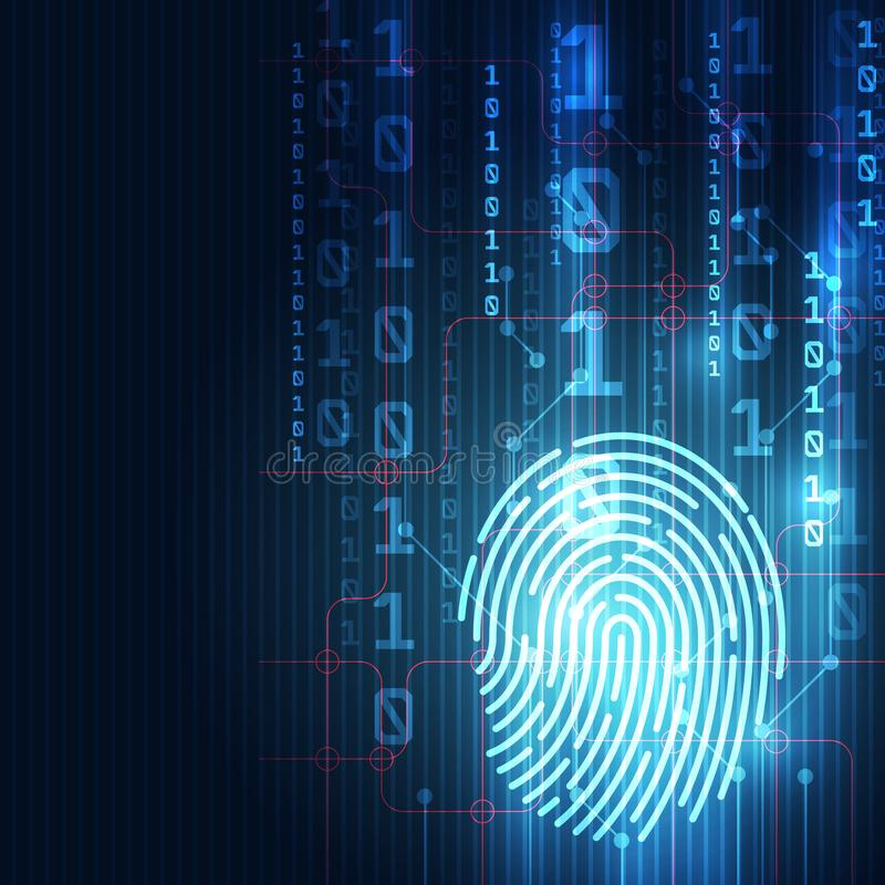 Fingerprint integrated in a printed circuit, releasing binary codes. finger print Scanning Identification System. Biometric Author. Ization and Business Security royalty free illustration