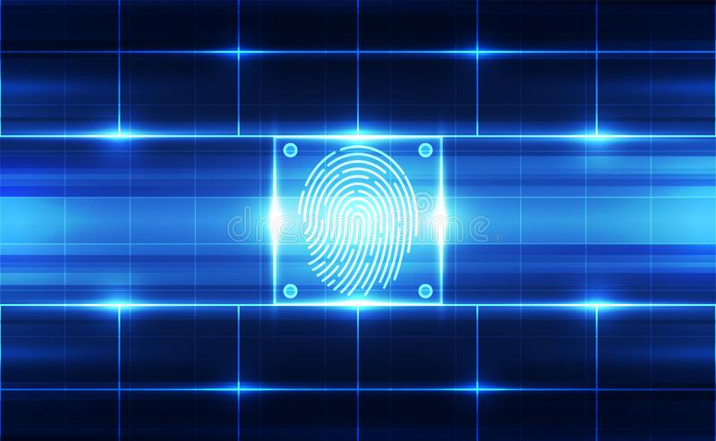 Fingerprint integrated in a printed circuit, releasing binary codes. fingerprint Scanning Identification System. Biometric. Authorization and Business Security vector illustration