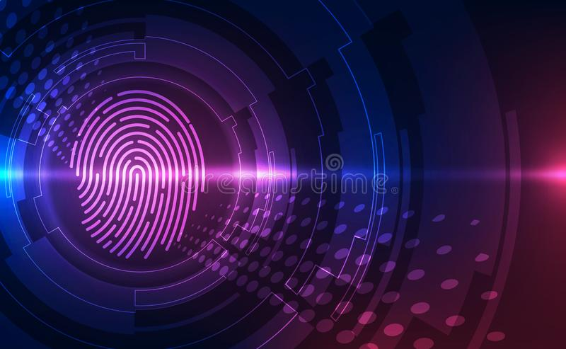 Fingerprint integrated in a printed circuit, releasing binary codes. fingerprint Scanning Identification System. Biometric. Authorization and Business Security stock illustration