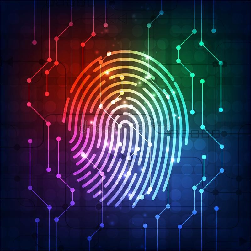 Fingerprint integrated in a printed circuit, releasing binary codes. fingerprint Scanning Identification System Security Concept. Vector illustration stock illustration