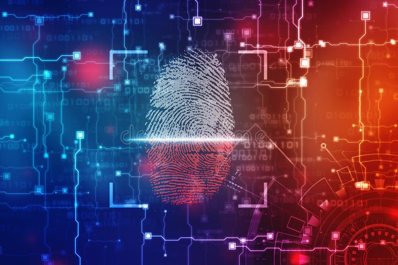 Security concept: fingerprint Scanning on digital screen. 2d illustration royalty free stock photos